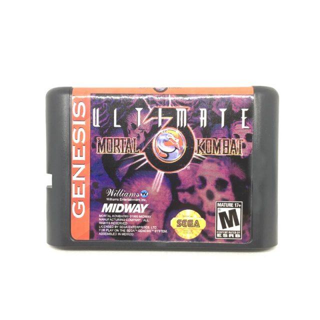 Sega Mortal Kombat Ultimate 3 Genesis Game Mega Drive Md Card 16 Bit